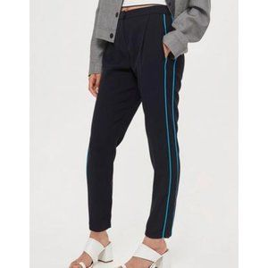 Topshop Side Striped Joggers, Navy Blue, Size 4